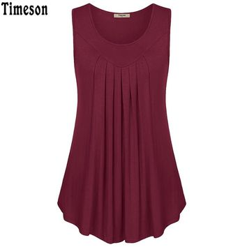 Summer Sleeveless Fold Curved Hem Solid Tee Women Tanks Long Loose Tunic Casual Vest Blue Red Black Female Elegent Knitted Tops
