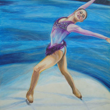 Figure Skater art - Skating artwork - Sasha Cohen - Colored pencil drawing - Gifts for her - Girls room decor - Skating - Original artwork