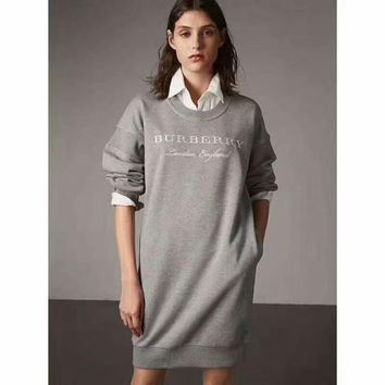Burberry Women Fashion Embroidery Long Top Sweater Pullover