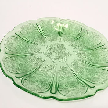 Green Depression Glass Cherry Blossom Salad Plate, Jeannette Cherry Blossom Green Glass