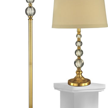 "0-008613>Optic Orb 26.5"" 1-Light Table Lamp And 61.5"" Floor Lamp Set Antique Brass"