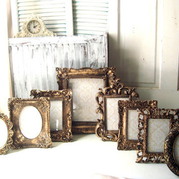 Gold Ornate Vintage Style Picture Frames, Ornate Table Top Frames with Glass and Backing, Wedding Table Frames, Easel Back Table Frames