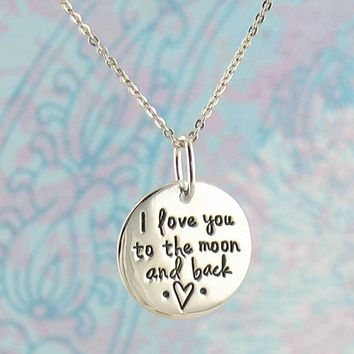 I Love You to the Moon & Back Circle Necklace
