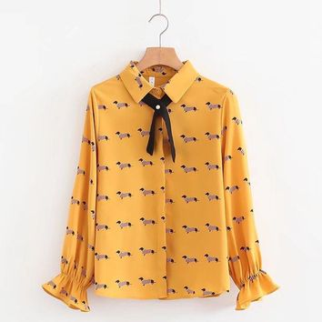 Cute Dachshund Print Women Blouse Girls Preppy Style Shirt Turn-down Collar Bowtie Flare Sleeve Spring Autumn Dog Top T83701