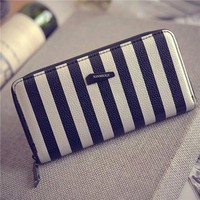 Women's Clutch PU Leather Long Wallet Striped Card Holder Purse