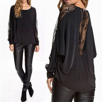 Batwing Sleeve Black Lace Patchwork Women Shirts = 1876536196
