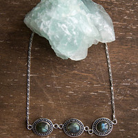 DAINTY LABRADORITE CHOKER - Natural Gemstone, Boho Chic, Gifts for Her, Delicate Jewelry, Minimalistic, Choker Necklace with Stone, Trendy