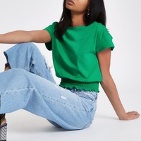 Green shirred hem T-shirt - Plain T-Shirts / Tanks - T-Shirts & Tanks - Tops - women