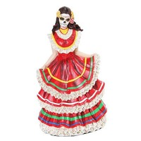Skeleton Dancer Red Folklorico Dress Statue Day of the Dead 7.75H