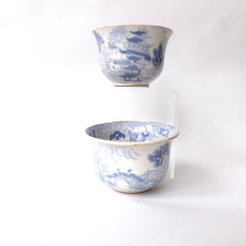 18th Century Willow Pattern Tea Bowls, Pair Tea Dishes, 2 Teacups, Blue and White Antique Teaware