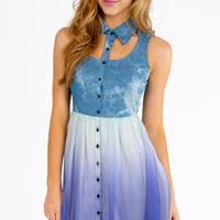Denim Rainbow Bottom Dress $23