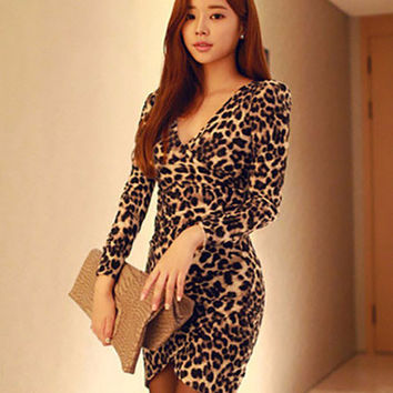 Leopard Print Long Sleeve V-Neck Arched Mini Dress
