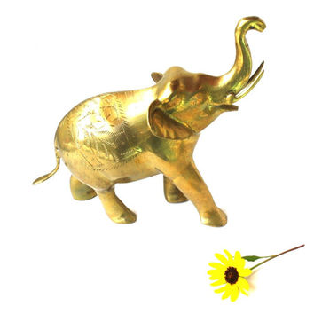 Large Vintage Solid Brass Elephant / Lucky Indian Elephant / Brass Zoo Animal / Elephant Statue / Elephant Figurine