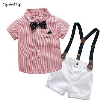 48d6724e4955 Baby Boy Gentleman Clothes Set Summer Suit For Toddler Striped Shirt with Bow  Tie+Suspenders