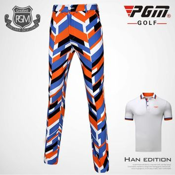 PGM spring summer golf apparel men's irregular pattern design printed pants breathable and quick-drying golf sports trousers