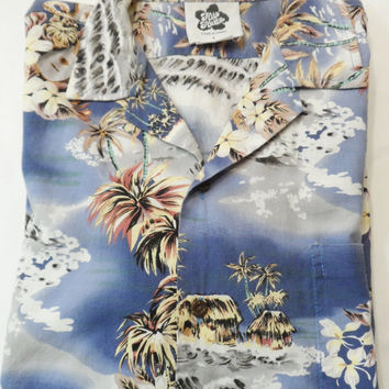 Hilo Hattie VINTAGE Hawaiian Shirt Mens Large Tropical Flowers Ukelele Palm trees Tiki Huts
