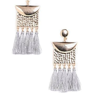 Blu Skye Boho Hammered Plate Effect Tassel Earrings