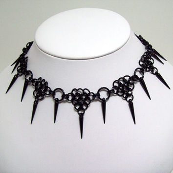 chainmaille choker, spike necklace, sexy, gothic necklace, slave collar, clubwear