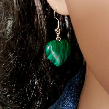 MALACHITE EARRINGS EARRINGS Silver Plated Gemstone Malachite Jewelry Earrings Silver Plated Malachite Earrings