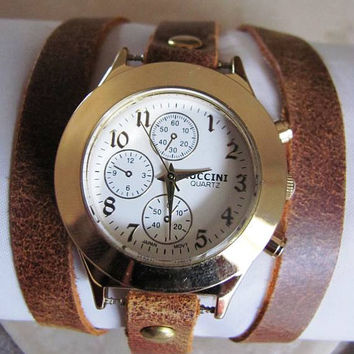 Handmade Bracelet Wrap Gold Watch - 2015 New Orlogin Style Design  FREE SHIPPING