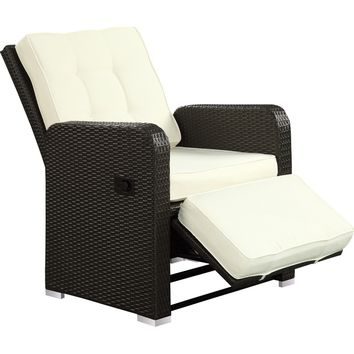 Modern Patio Furniture Commence Recliner Espresso White Cushions