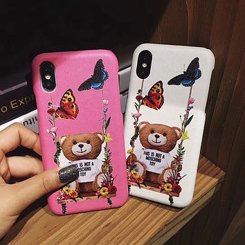 Moschino swing bear eyes red lips iPhone XS Max phone case leather hard shell