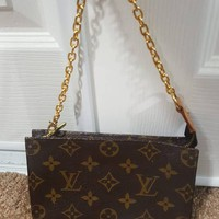 Authentic Louis Vuitton Monogram PM bucket pouch with (non lv) chain