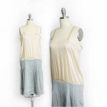 Vintage 1920s Slip Dress - Knife Pleated Silk Robin's Egg Blue & Beige Art Deco Flapper Under Dress  20s - Small