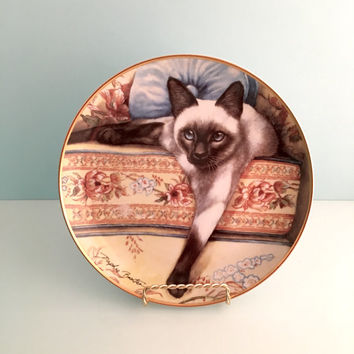 Siamese Cat Art, Decorative Collector Plate by Artist Daphne Baxter, Franklin Mint Plate, Cat Lover Gift, Vintage Cat Plate, Cat Decor