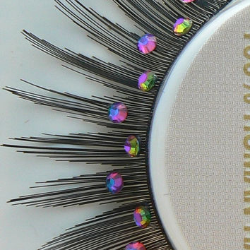 Northern Lights - Ultra Sparkly Exclusive Human Hair False Eyelashes with Vitrail Green Purple Preciosa Crystal Diamante