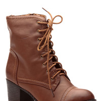 Chestnut Faux Leather Autumn Essentials Chunky  Lace Up Boots