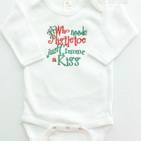 Baby Girls or Boys Christmas Bodysuit - Baby Shower Gifts - Embroidered Holiday Outfit - Red and Green - Mistletoe - Funny Baby Clothes