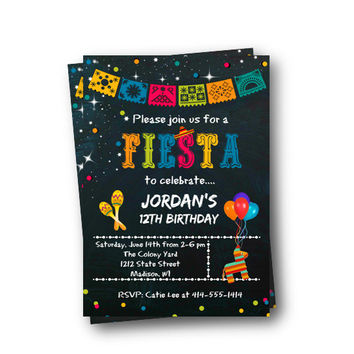 Fiesta Birthday Invitation Mexican Fiesta Birthday party theme sombrero pinata chalkboard colorful taco party maracas Mexican Fiesta