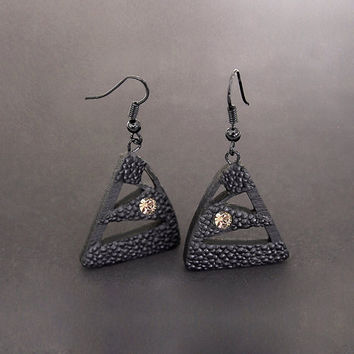 Earrings, contemporary, modern jewelry design, FREE Shipping, handmade, laser cut wood, polymer clay, Swarovski crystals, black steel hooks