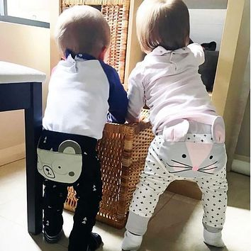 Autumn Baby PP Pants Cute Animals Pattern Newborn Infant Boy Girl Bottoms PP Pants Kids Casual Loose Harem Pants Clothing