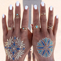 7Pcs/set Bohemian Antique Silver Turquoise Moon Arrow Finger Rings Set Women Tibetan Elephant Punk Knuckle Joint Rings Set