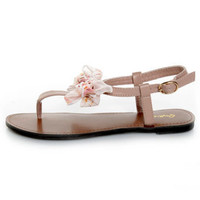 Qupid Athena 431 Blush Bow'd T Strap Thong Sandals - $22.00