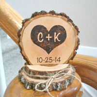 Rustic Wedding Cake Topper Wood Burned Heart Personalized Romantic Country