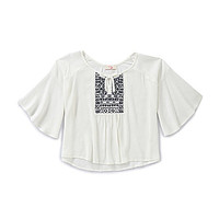 GB Girls 7-16 Embroidered Peasant Top - White