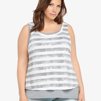 Striped & Slashed Double Layer Tank