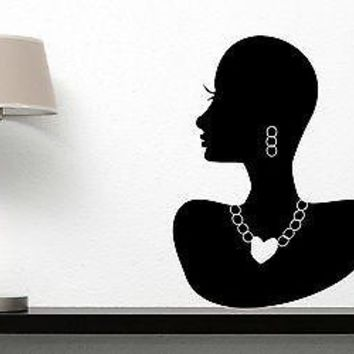Wall Sticker Vinyl Decal Beautiful Woman Himba Ornaments Neck Ears Unique Gift (n075)