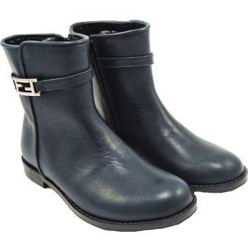 Girls Faded Blue Leather Booties