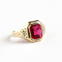Vintage 10k Yellow Gold Art Deco Created Ruby Ring - Antique Size 7 Chased Filigree Synthetic Red Pink Stone July Birthstone Fine Jewelry
