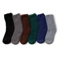 Soft Warm Microfiber Fuzzy Winter Socks Crew 6pairs(1pack) 6 style Dark Plain