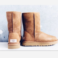 UGG Short boots antiskid warm lazy sheep fur simple ugg boots canister boots Brown