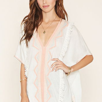 Fringe-Trim Embroidered Top