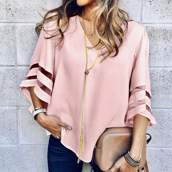 New Women Summer Loose V Neck Tops Ladies Mesh Stitching Transparent Casual Holiday Blouse Shirt Female Blusas Tunic Shirts Tops