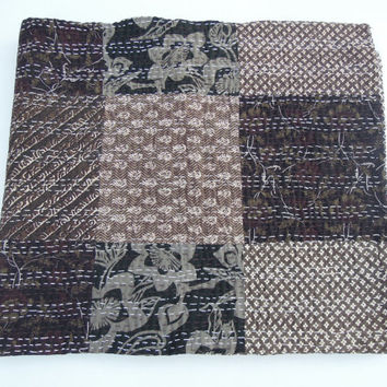 Patchwork Hand Block Printed Kantha Quilt Throw Organic Vegetable Prints Bedspreads Bed Cover Blanket