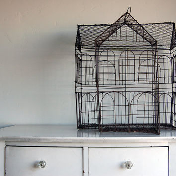 Primitive Colonial House Birdcage