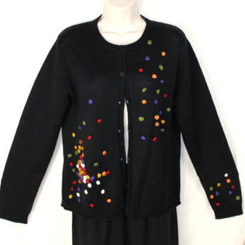 Carducci Sweater S size Cardigan Womens Black Colorful Ball Detail Acrylic Wool